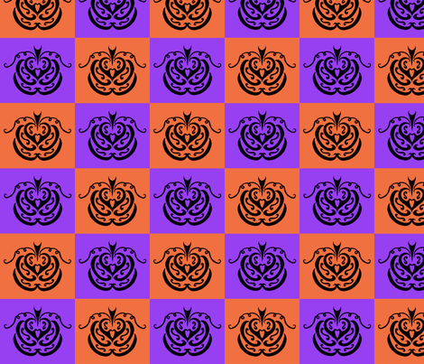 Pumpkin Checkers 1 fabric by ladyleigh on Spoonflower - custom fabric