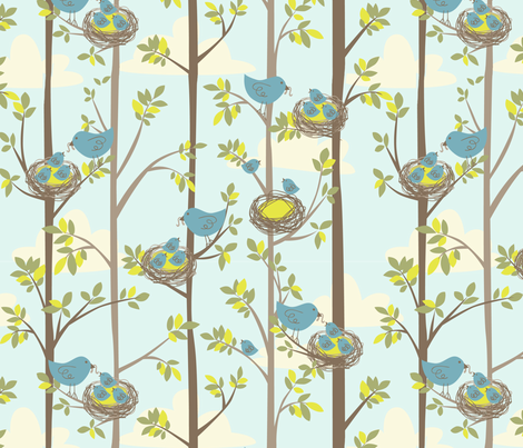 Nesting Trees fabric by bethany@bzbdesigner_com on Spoonflower - custom fabric