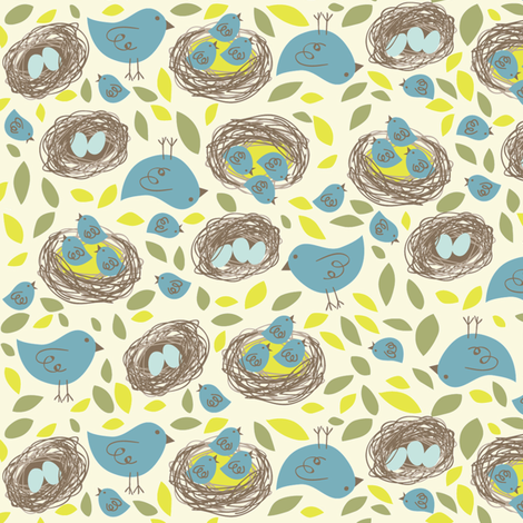 Nesting Birds fabric by bzbdesigner on Spoonflower - custom fabric