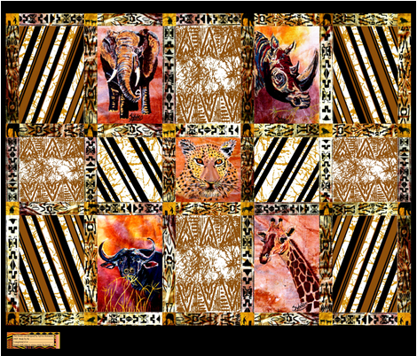 African_Wild_Animal_Quilt_Top_Half fabric by art_on_fabric on Spoonflower - custom fabric
