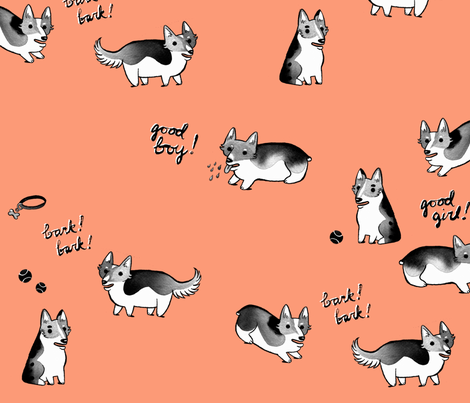 Corgi Quartet fabric by caitlinclarkson on Spoonflower - custom fabric