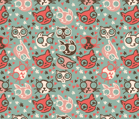 cartoon cats in vector fabric by anastasiia-ku on Spoonflower - custom fabric