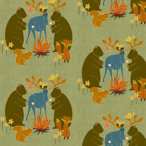 camping in the woods fabric by vo_aka_virginiao on Spoonflower - custom fabric