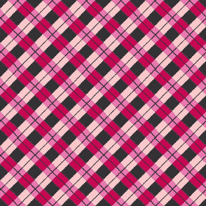pink and red argyle on black