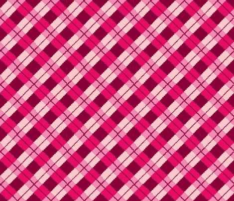 pink and red argyle on black-ch fabric by cricketnoel on Spoonflower - custom fabric
