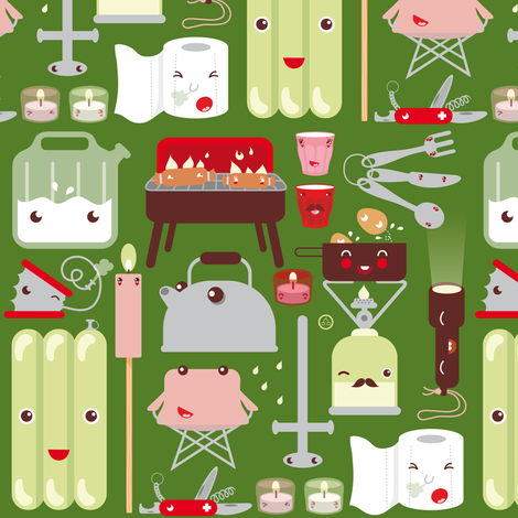 camping on weekends fabric by verycherry on Spoonflower - custom fabric