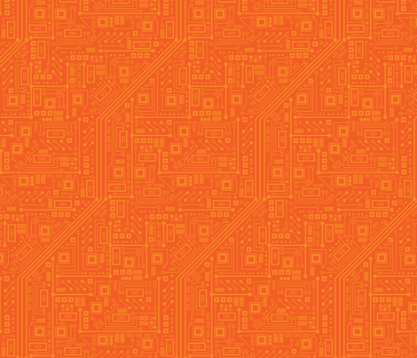 Robot Circuit Board (Orange) fabric by robyriker on Spoonflower - custom fabric