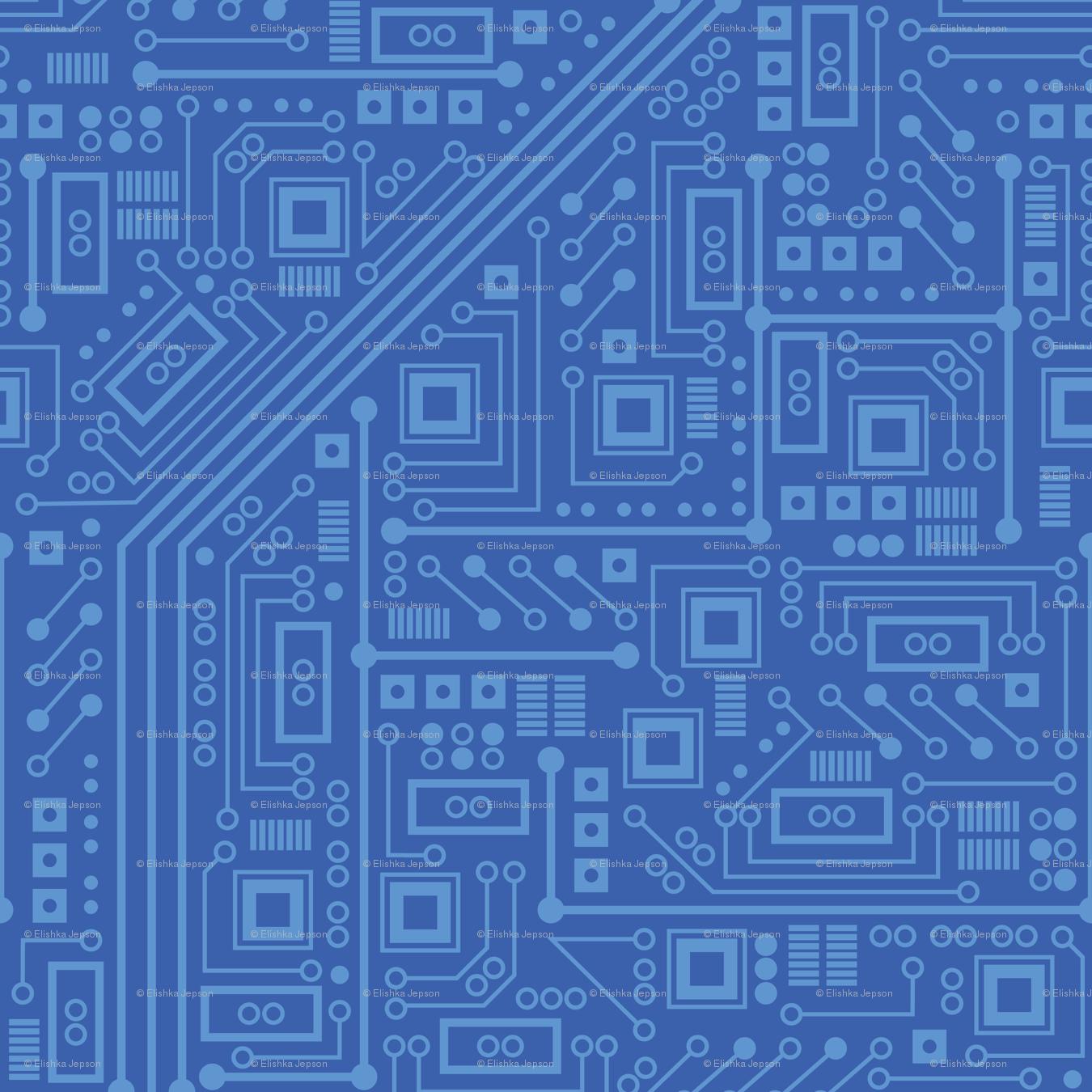Robot Circuit Board (Blue) wallpaper - robyriker - Spoonflower