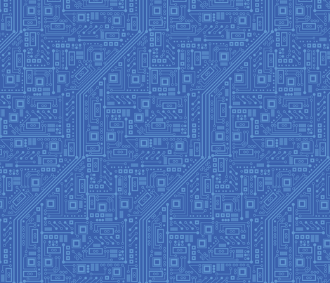 Robot Circuit Board (Blue) fabric by robyriker on Spoonflower - custom fabric