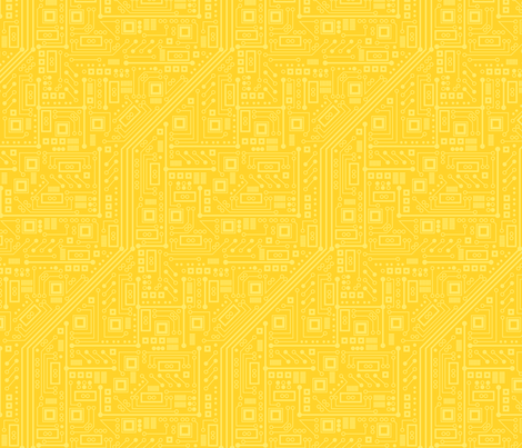 Robot Circuit Board (Yellow) fabric by robyriker on Spoonflower - custom fabric