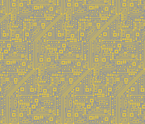 Robot Circuit Board (Yellow & Gray) fabric by robyriker on Spoonflower - custom fabric
