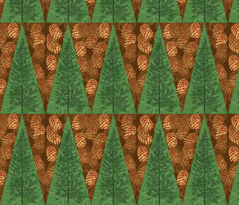 Pinecones & Evergreens fabric by rubydoor on Spoonflower - custom fabric