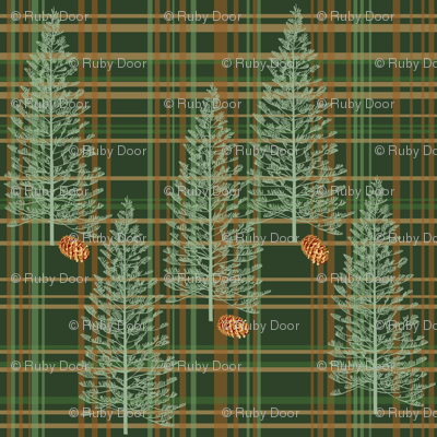 Evergreen Plaid with Pinecones