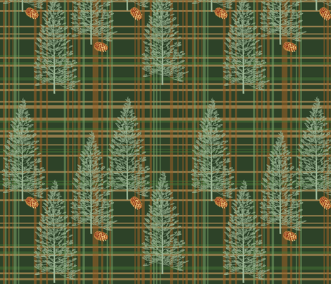 Evergreen Plaid with Pinecones fabric by rubydoor on Spoonflower - custom fabric