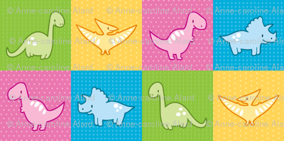Dinosaurs cheater quilt pink