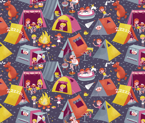 Camping at night - it's fun!  fabric by irrimiri on Spoonflower - custom fabric