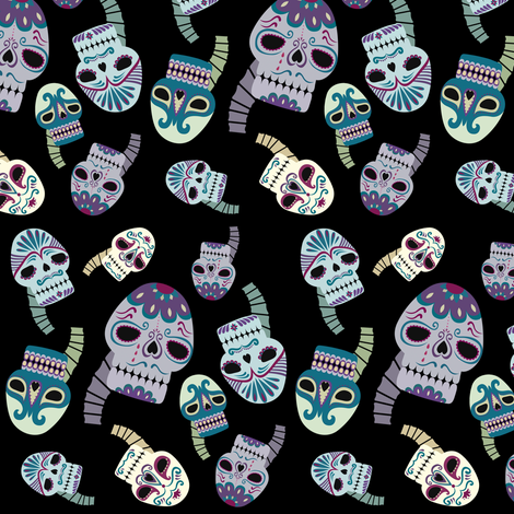 Day of the Dead fabric by carrie-anne's_designs on Spoonflower - custom fabric