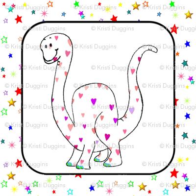 Bohemian Dinosaur | Brachiosaurus Hearts & Stars Quilt Block