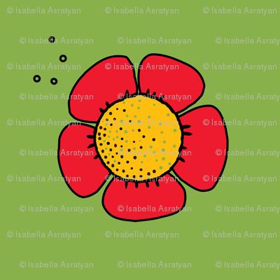 big red flower on green grass
