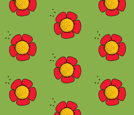 big red flower on green grass fabric by isabella_asratyan on Spoonflower - custom fabric
