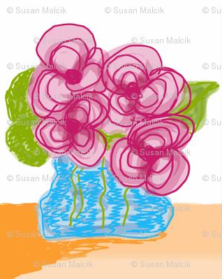 Pink Flowers in Blue Vase