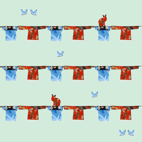 Hong Kong Washline with bluebirds and cats on sea green fabric by karenharveycox on Spoonflower - custom fabric
