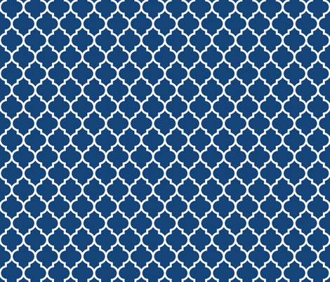 moroccan quatrefoil lattice in egyptian blue fabric by spacefem on Spoonflower - custom fabric