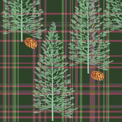 Raspberry Plaid with Pinecones fabric by rubydoor on Spoonflower - custom fabric