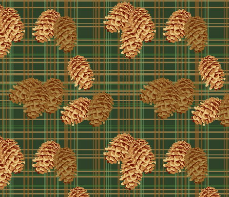 Pinecones on Plaid (large) fabric by rubydoor on Spoonflower - custom fabric