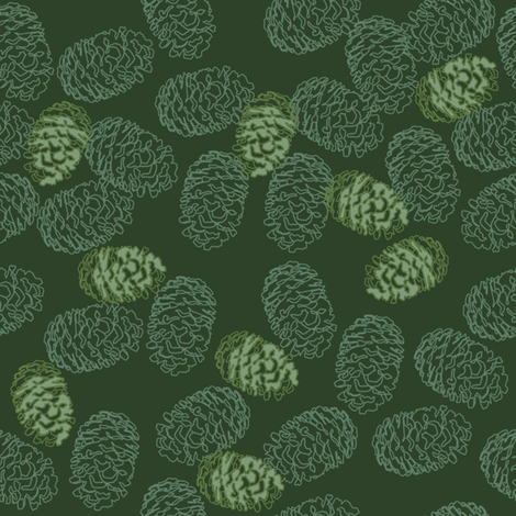 Green Pinecones (small) fabric by rubydoor on Spoonflower - custom fabric