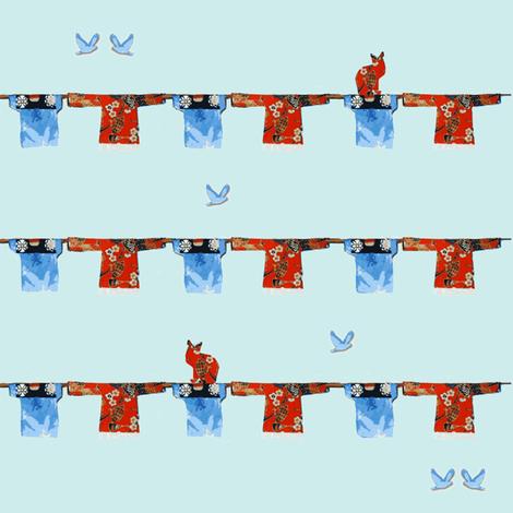 Hong Kong Washline on blue, bluebirds and cats fabric by karenharveycox on Spoonflower - custom fabric