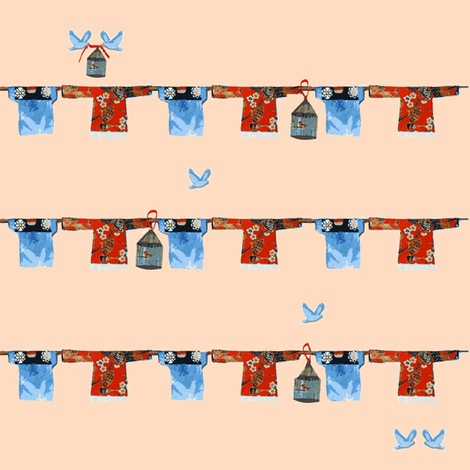 Hong Kong Washline with bluebirds and birdcages on peach fabric by karenharveycox on Spoonflower - custom fabric