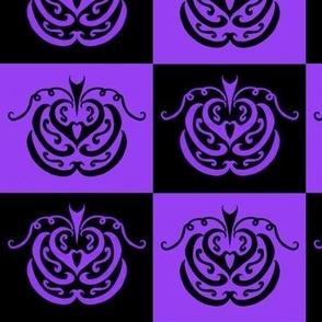 pumpkin checkers (black and purple)
