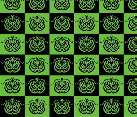 pumpkin checkers (black and green) fabric by ladyleigh on Spoonflower - custom fabric
