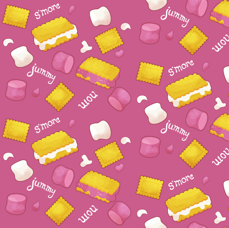 S'mores - pink fabric by irrimiri on Spoonflower - custom fabric