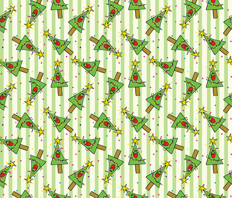Smiling Christmas Trees Green fabric by donnamarie on Spoonflower - custom fabric