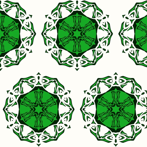 Butterfly Wheel (green and white) fabric by ladyleigh on Spoonflower - custom fabric