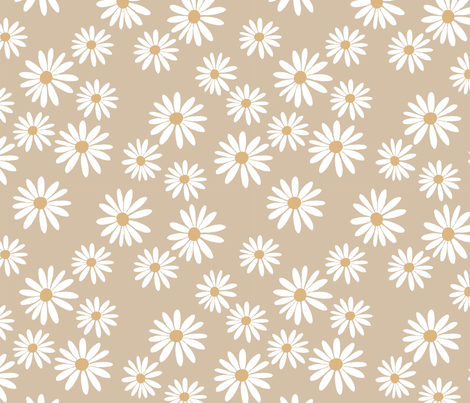 Chocolate Daisy Cream fabric by de-ann_black on Spoonflower - custom fabric