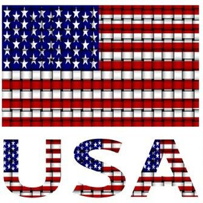 USA Flag & Name Woven