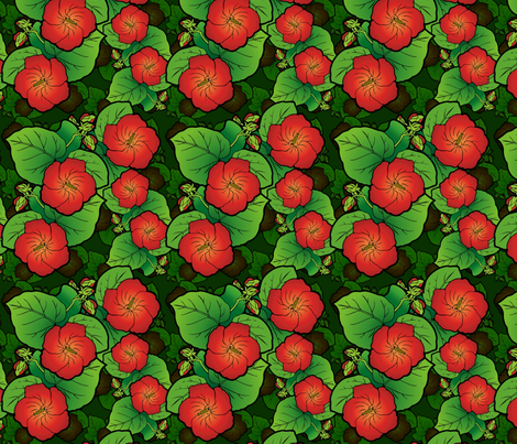 Hibiscus flowers fabric by hannafate on Spoonflower - custom fabric
