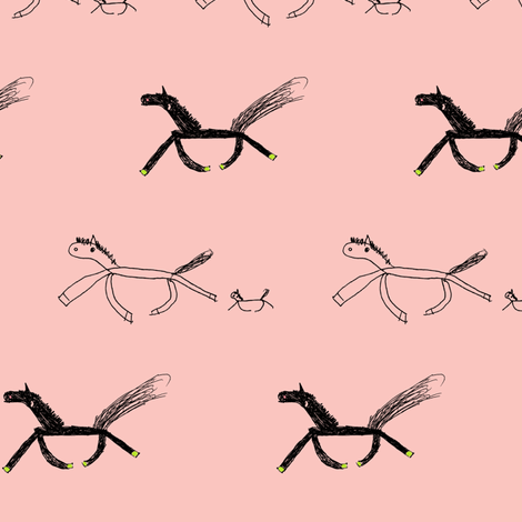 Tiffany's Horses on Pink fabric by trishboese on Spoonflower - custom fabric