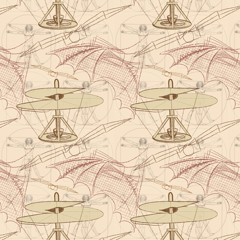 Leonardo's Legacy (small print) fabric by jjtrends on Spoonflower - custom fabric