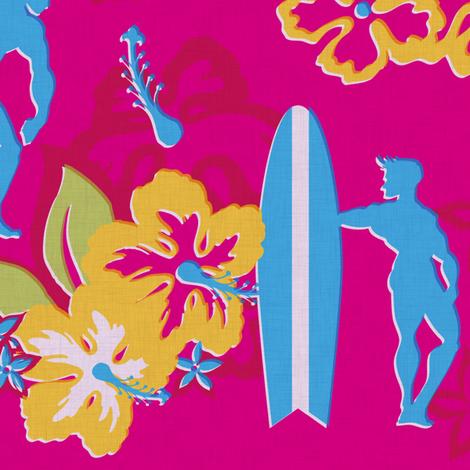 Muscle Beach - vintage hibiscus fabric by thecalvarium on Spoonflower - custom fabric