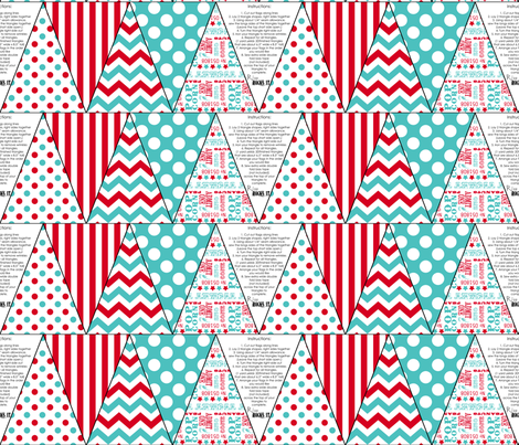Carnival Bunting Flags in Red and Tuquoise fabric by risarocksit on Spoonflower - custom fabric