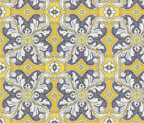 Tile en Bleu fabric by peacoquettedesigns on Spoonflower - custom fabric