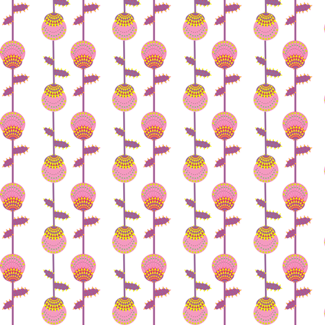 Thistle  - pink, purple and yellow fabric by akwaflorell on Spoonflower - custom fabric
