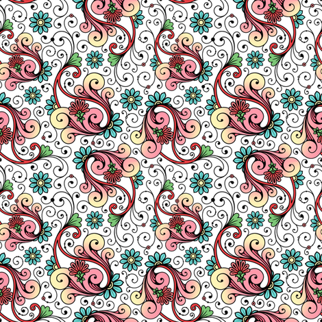 Floral Paisley Swirls fabric by risarocksit on Spoonflower - custom fabric