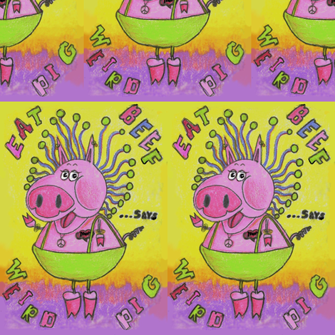 "Weird Pig says ""Eat Beef""! fabric by amy_g on Spoonflower - custom fabric"