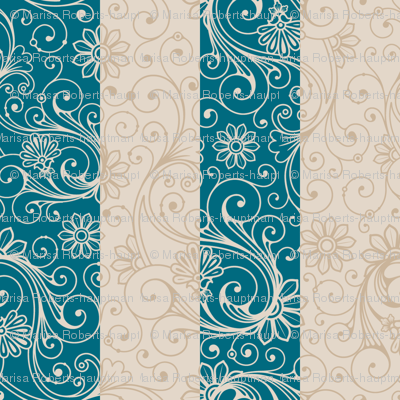 Teal and Taupe Floral Stripes