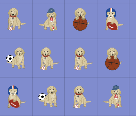 Sports Puppy Cutouts fabric by cksstudio80 on Spoonflower - custom fabric